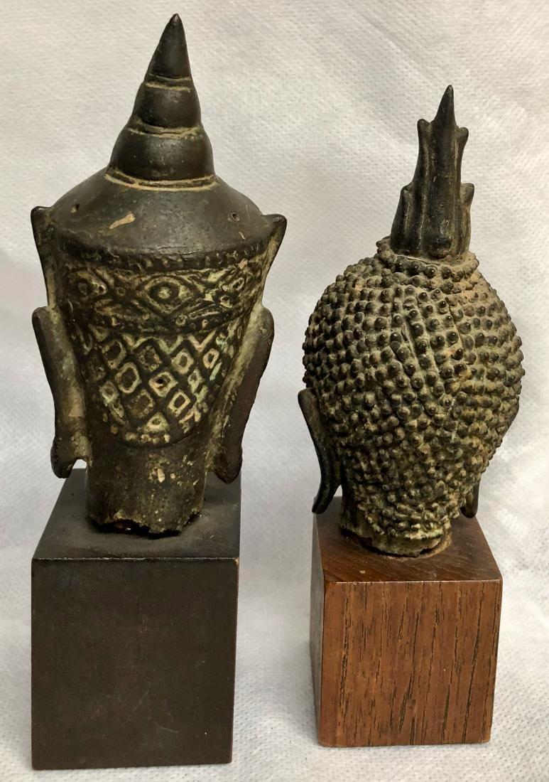 Pair Of Antique Thai Bronze Buddha Heads - 3