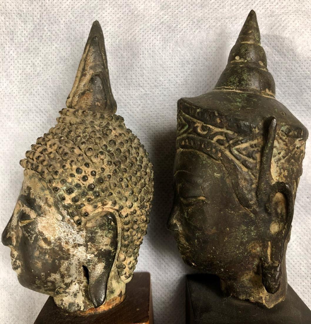 Pair Of Antique Thai Bronze Buddha Heads - 4
