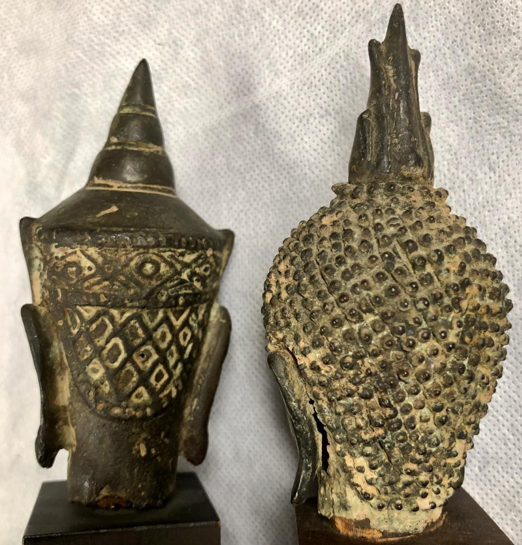 Pair Of Antique Thai Bronze Buddha Heads - 5