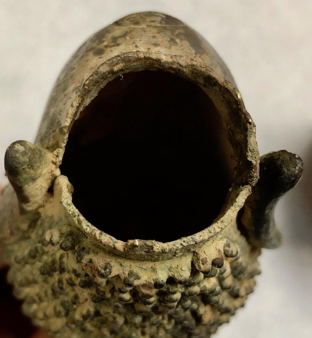 Pair Of Antique Thai Bronze Buddha Heads - 7