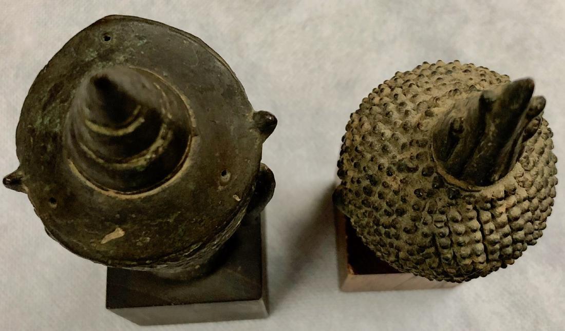 Pair Of Antique Thai Bronze Buddha Heads - 8