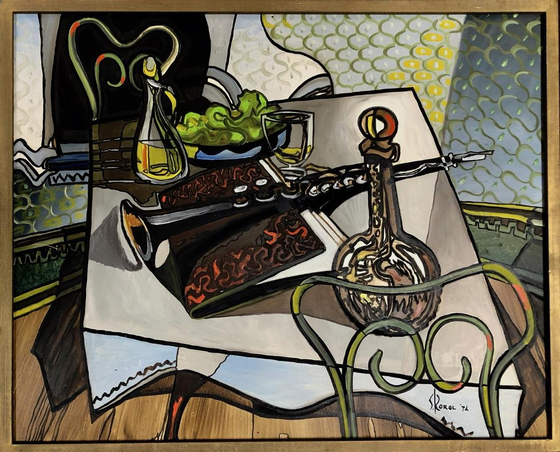 Modernist Still Life Painting with Clarinet, Korol 1974