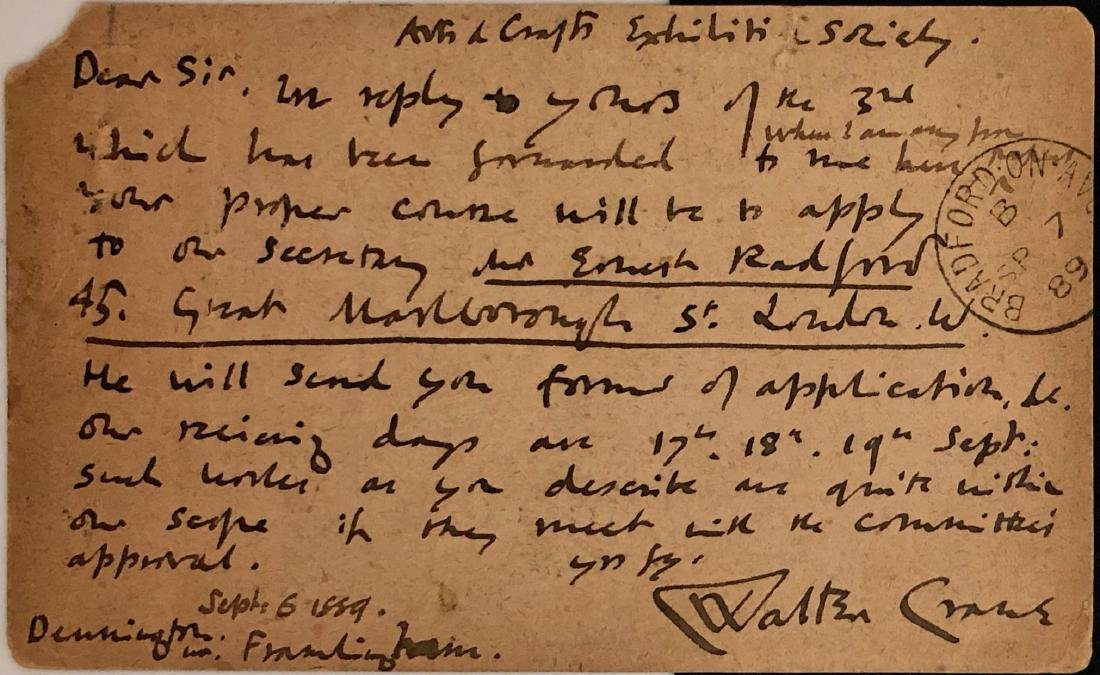 Walter Crane Handwritten Correspondence 1889