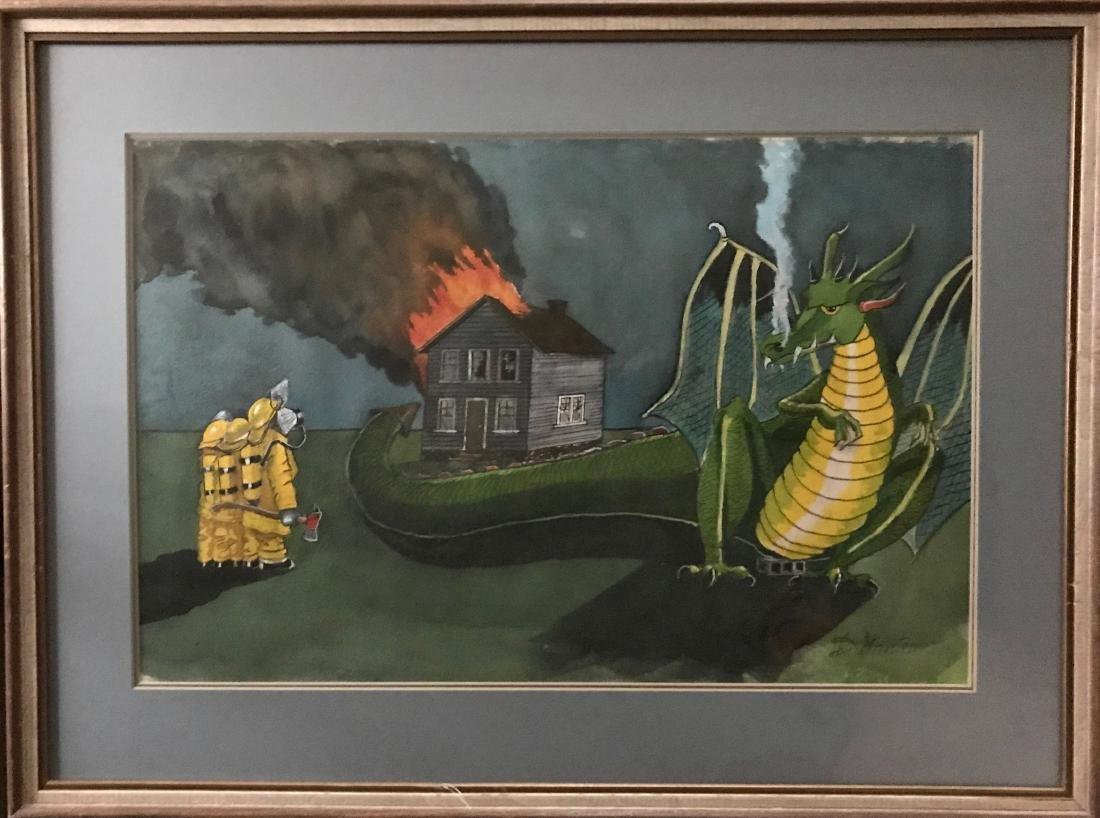 Illustration Painting, Fire Breathing Dragon, Streeter