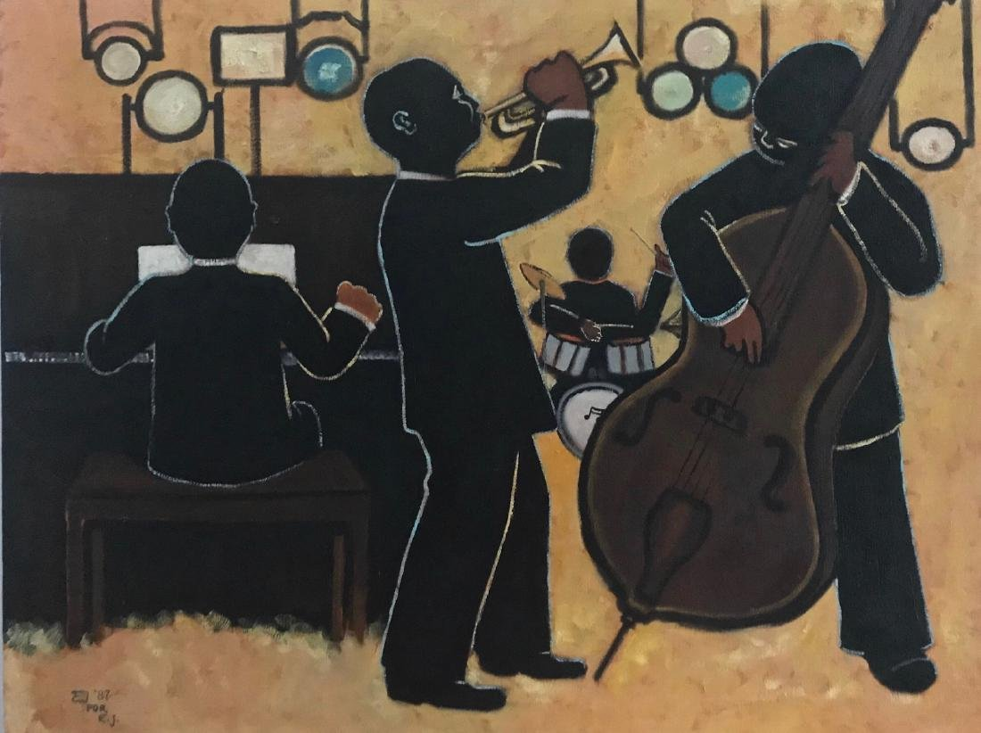 African American JAZZ BAND Club Painting, E.J.