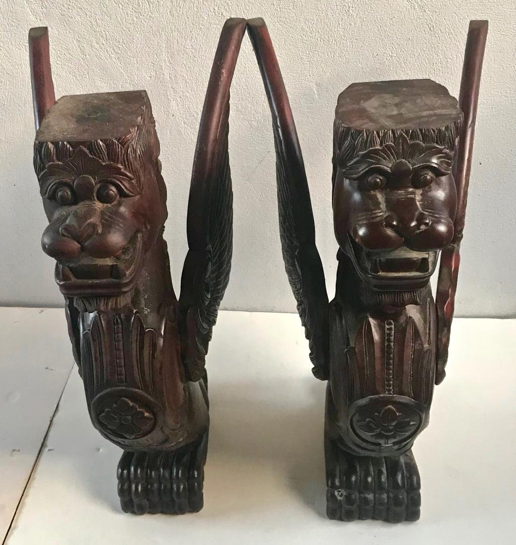 Victorian Carved Architectural Wood Lion-Griffin Pair