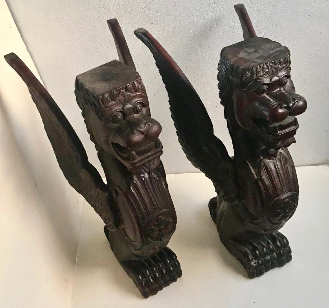 Victorian Carved Architectural Wood Lion-Griffin Pair - 3
