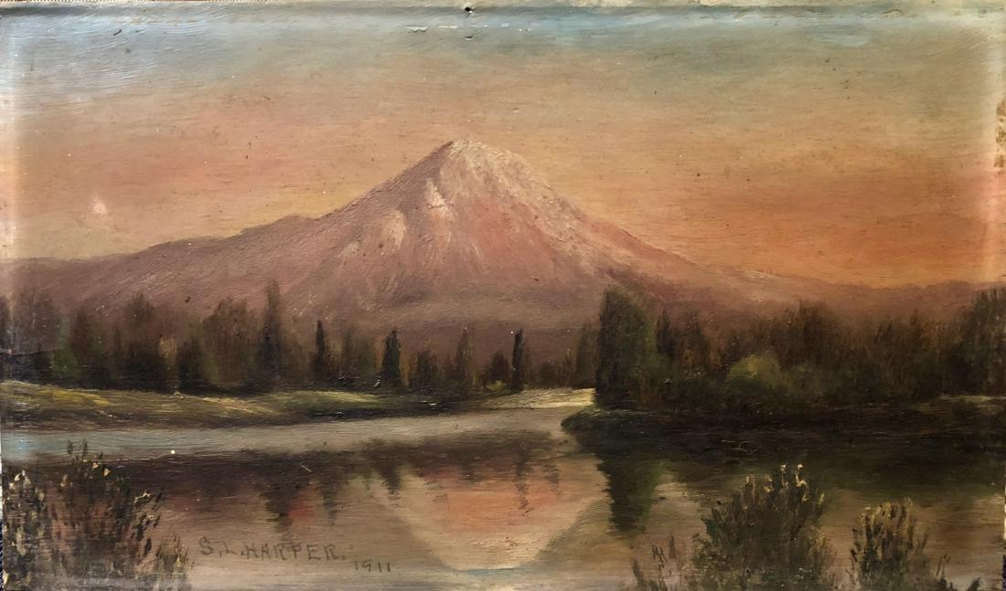 Mt. Rainier Western Landscape Painting, 1911 S. Harper