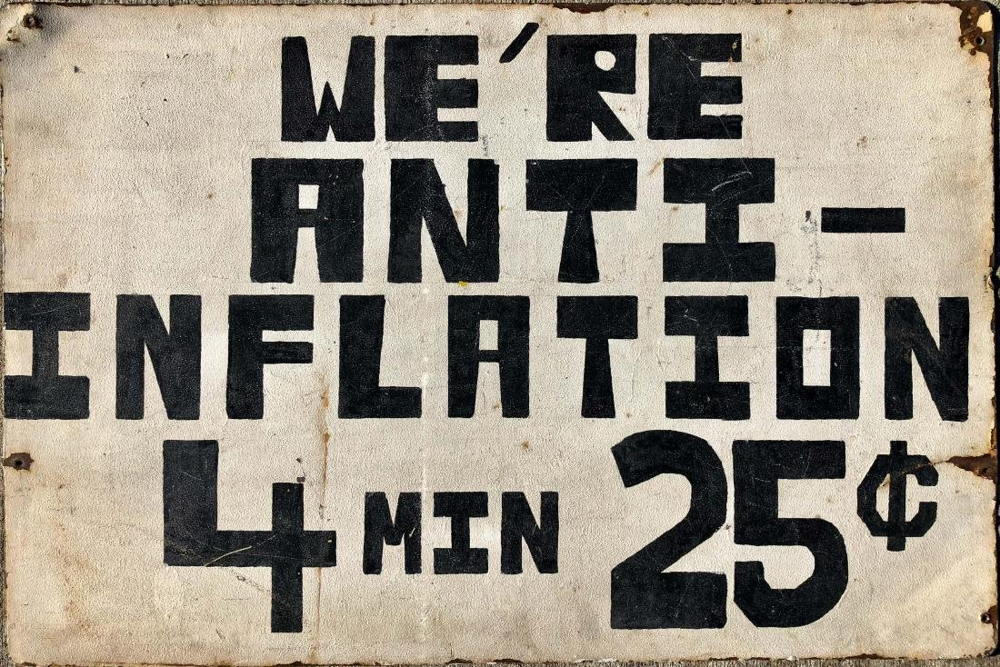 PROTEST Painted Metal Sign ANTI-INFLATION 1960s