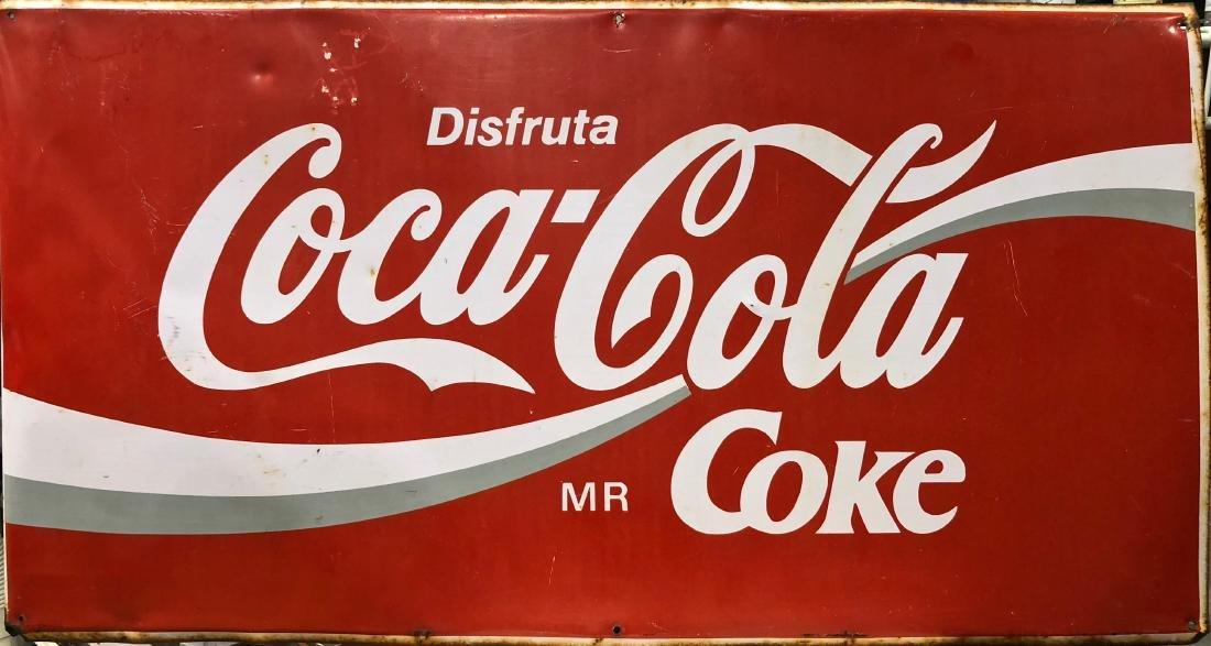 Disfruta Coca-Cola Metal Advertising Sign 1960s