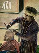 Middle Eastern Urban Oil Painting BARBER SHOP