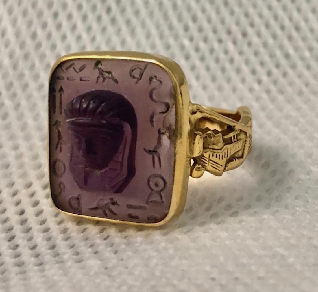 Egyptian Revival 15k Gold & Carved Amethyst Ring