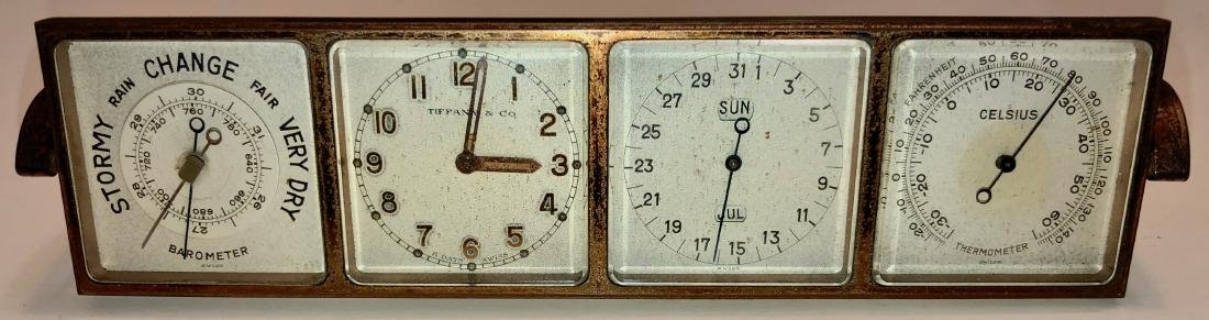 Antique Tiffany & Co 4 Face Weather Station Clock
