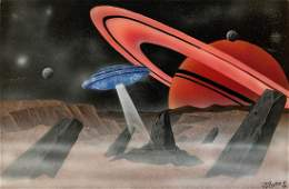 Surreal Interstellar Spaceship Galaxy Painting