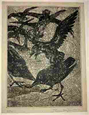 Theo van Hoytema CROWS IN SNOW SQUALL Signed 1906