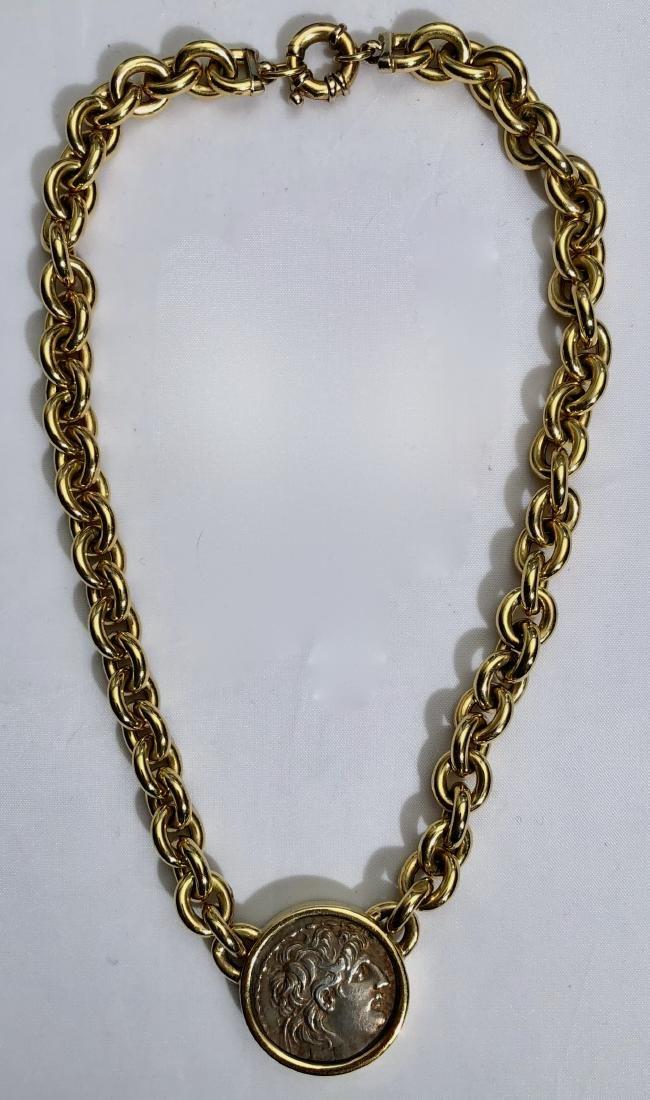 Bucciari 18k Ancient Coin Chain Link Necklace