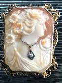 14k Diamond Carved Cameo Brooch Pendant