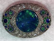 Platinum Pendant w/ Opal, Diamonds, Emeralds, Sapphires