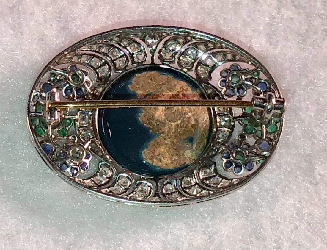 Platinum Pendant w/ Opal, Diamonds, Emeralds, Sapphires - 2