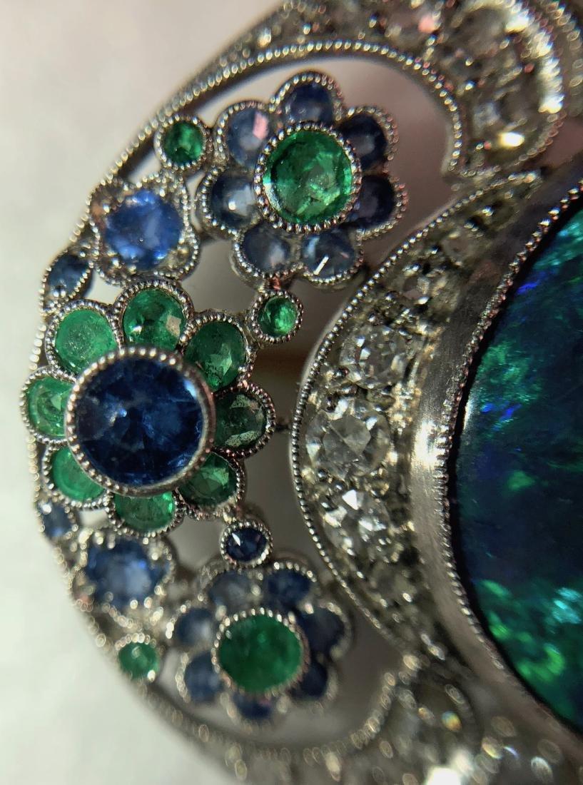 Platinum Pendant w/ Opal, Diamonds, Emeralds, Sapphires - 4