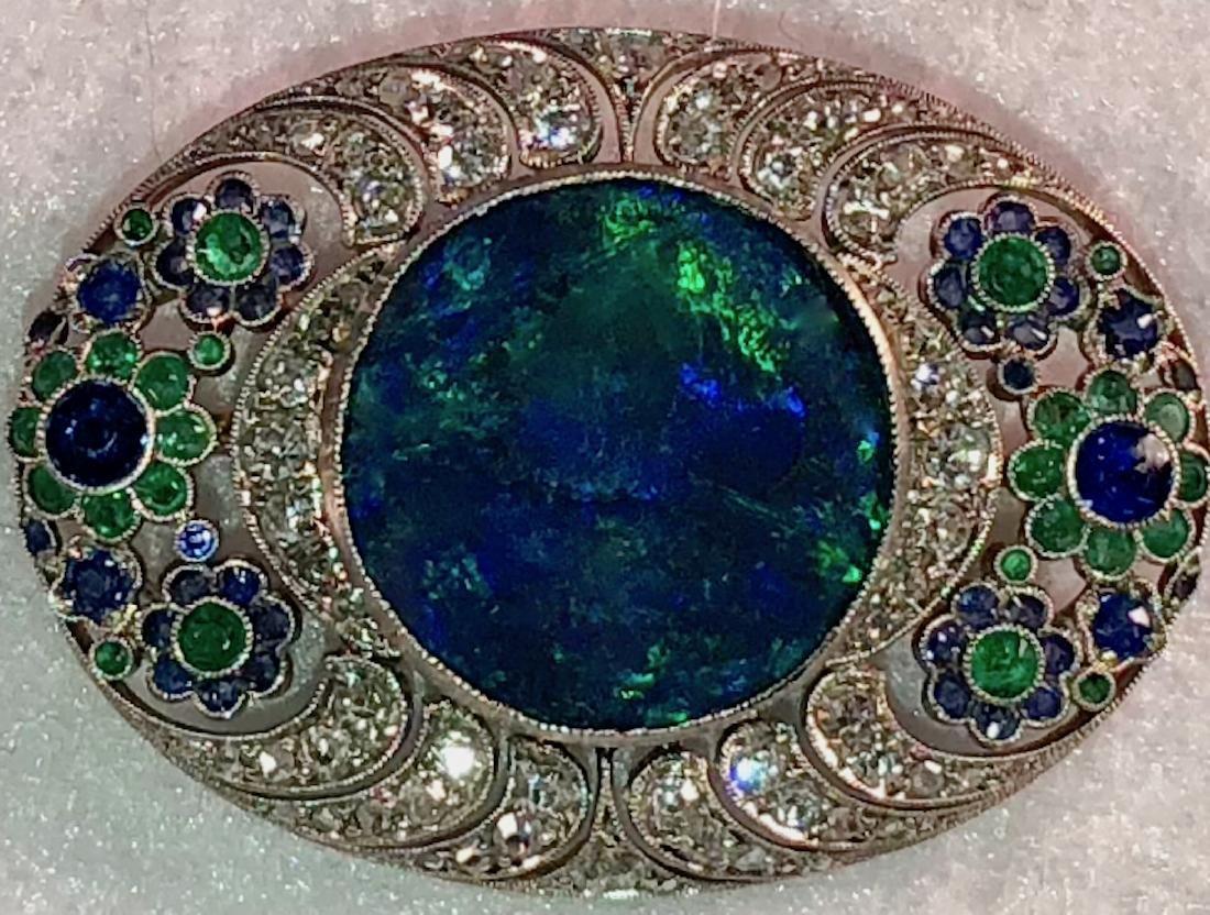 Platinum Pendant w/ Opal, Diamonds, Emeralds, Sapphires - 5