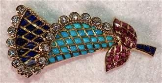 18k BROOCH Turquoise Diamonds Sapphires   Rubies