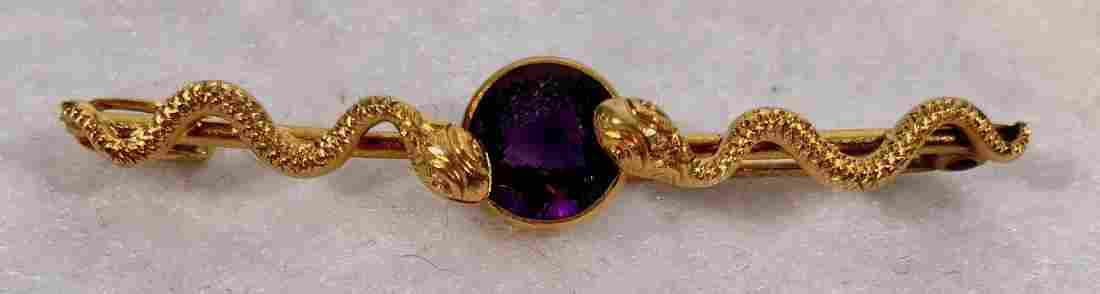 14k Yellow Gold Double Serpent Amethyst Bar Pin