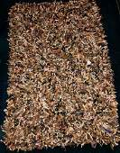 MidCentury Modern Handwoven Leather Shag Rug