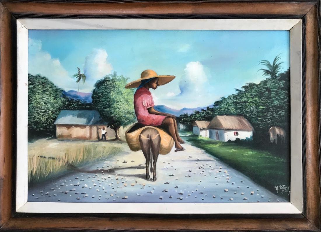 Haitian Folk Art Painting GIRL With Donkey, Signed 1974