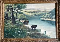 American Landscape w Cattle Watering Carl Mutze