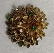TIFFANY & CO 18k Brooch Pin with Diamonds and Emeralds