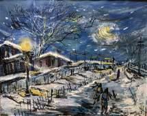 Winter Village Landscape Oil Painting Akiko Ochi 1951