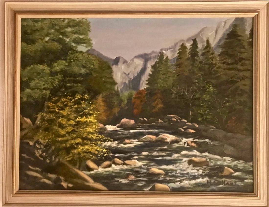 Mountain Stream Landscape Painting, H. Gallant 1950s