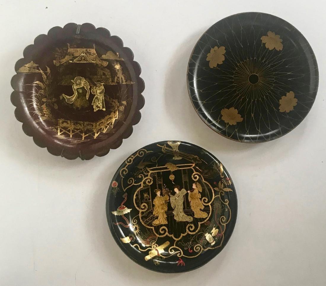 Antique Chinoiserie Papier Mache Lacquer Plates (3)