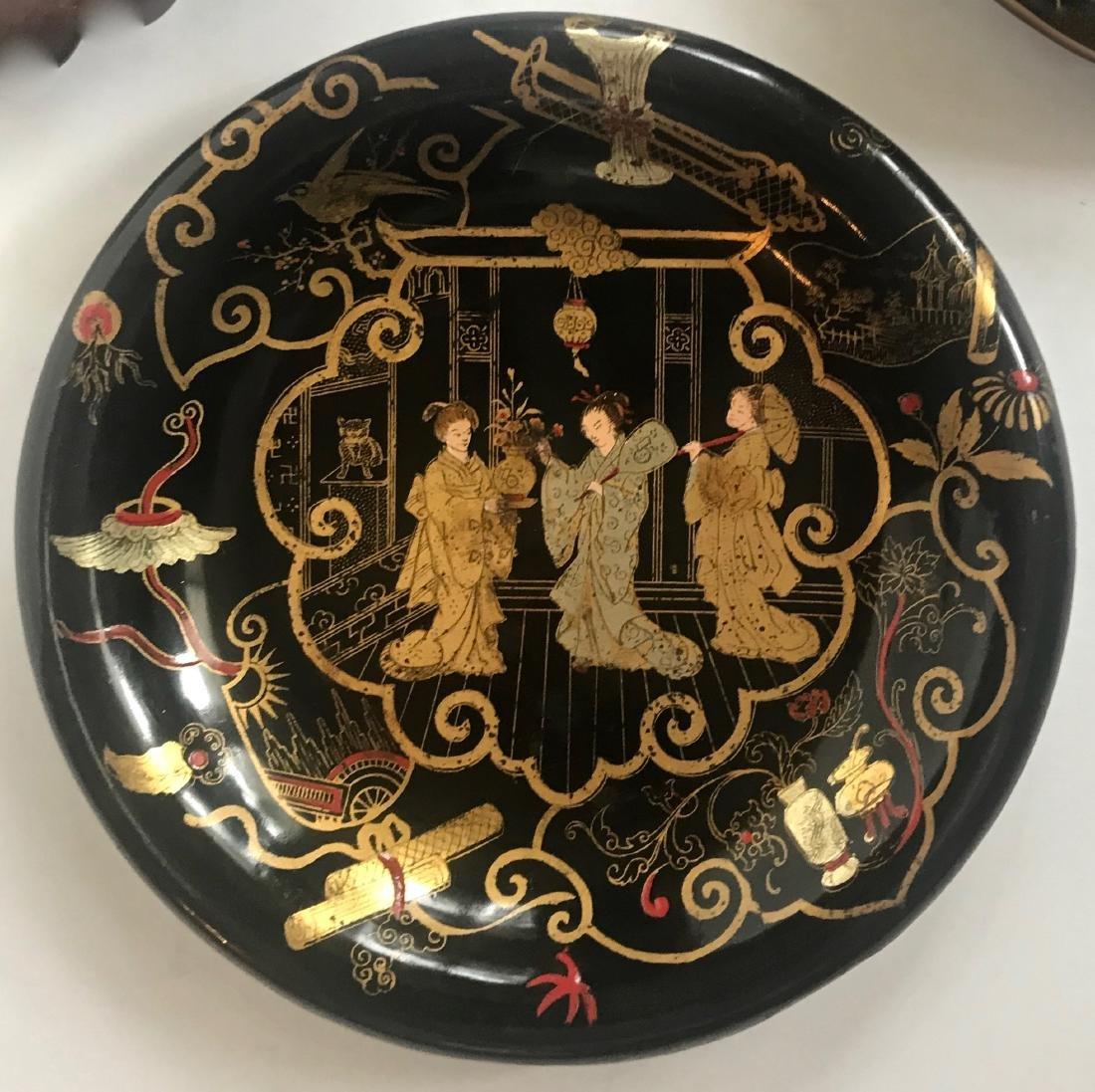 Antique Chinoiserie Papier Mache Lacquer Plates (3) - 2