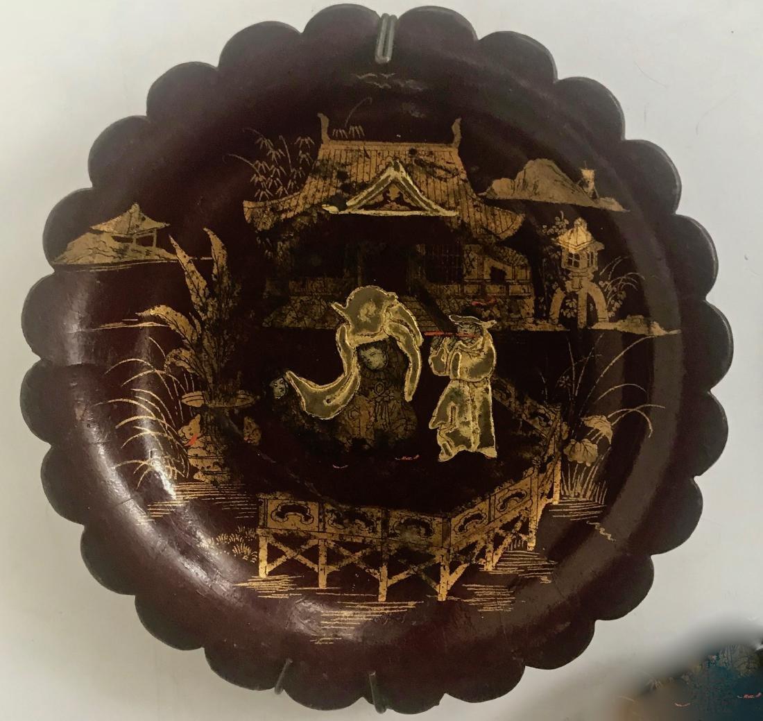 Antique Chinoiserie Papier Mache Lacquer Plates (3) - 4