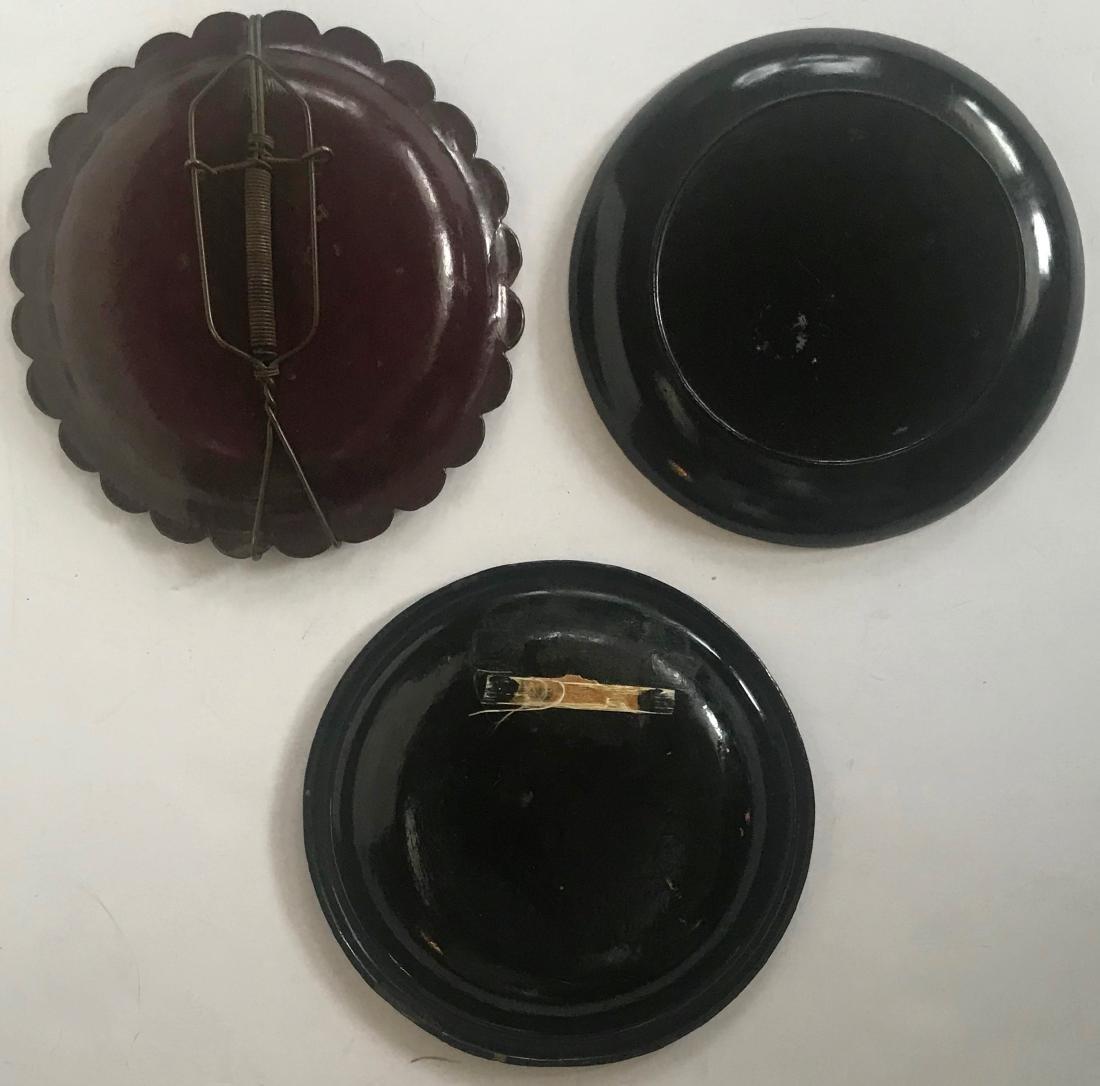 Antique Chinoiserie Papier Mache Lacquer Plates (3) - 5