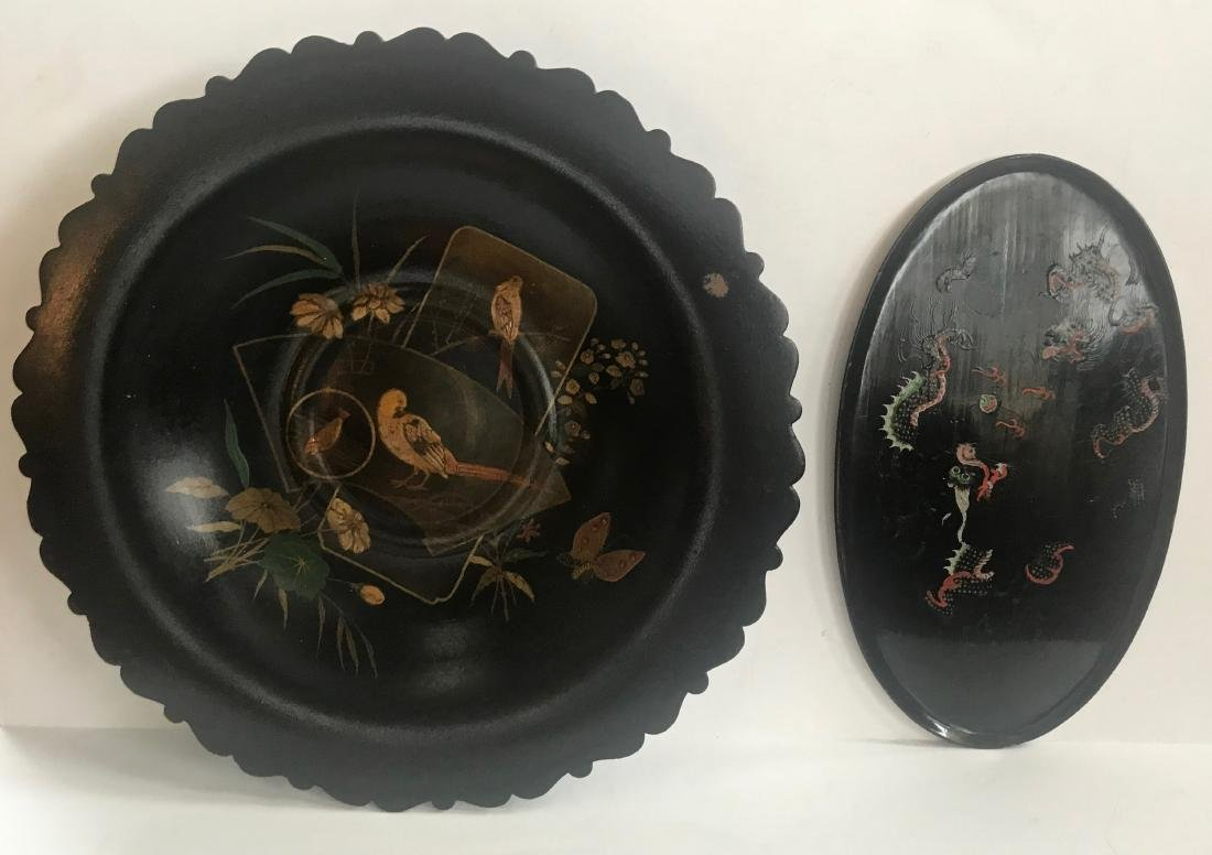 19th C. Chinoiserie Gilt Center Bowl & Dragon Tray