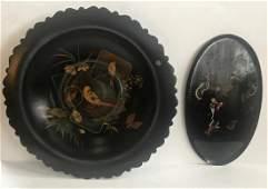 19th C Chinoiserie Gilt Center Bowl  Dragon Tray