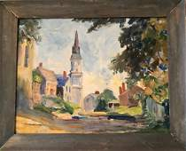 New England Village Urban Oil Painting, Signed 1950s