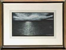 Moonlight Seascape Painting Lucile Benson Smith 1960s