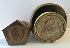 Antique Swan Butter Mold & Pineapple Butter Stamp