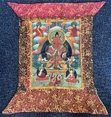 Tibetan Silk Brocade Thangka Painting MEDICINE BUDDHA