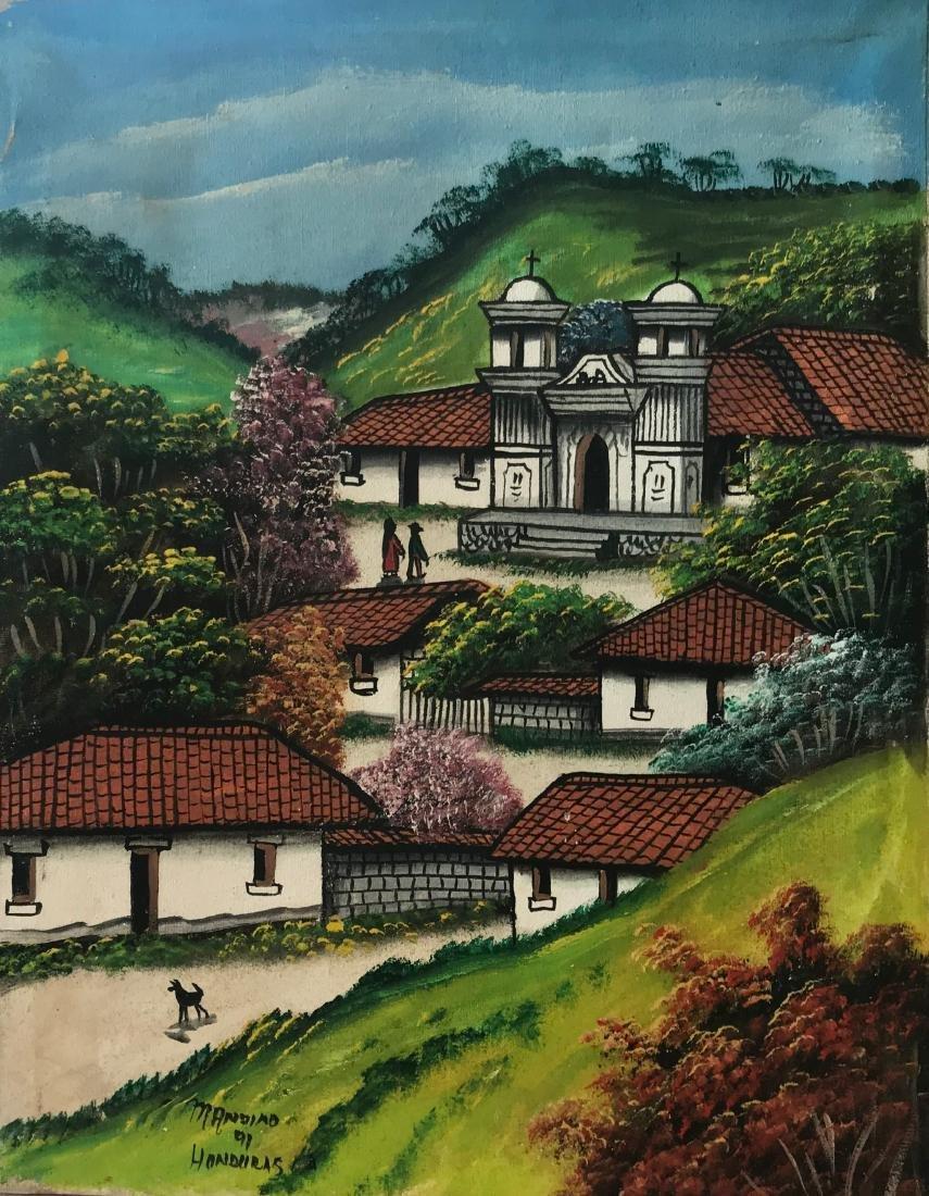 Latin American Village Landscape Painting Mandino 1950s