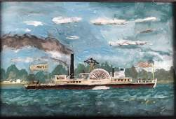 Reverse Glass Painting MEMPHIS PADDLE BOAT