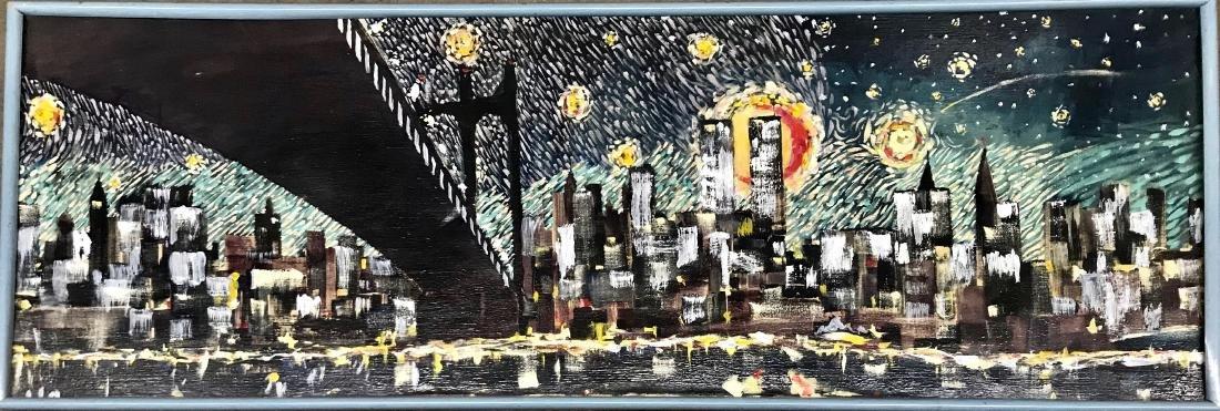 Urban Modern Oil Painting Starry Night in N.Y.C. Signed