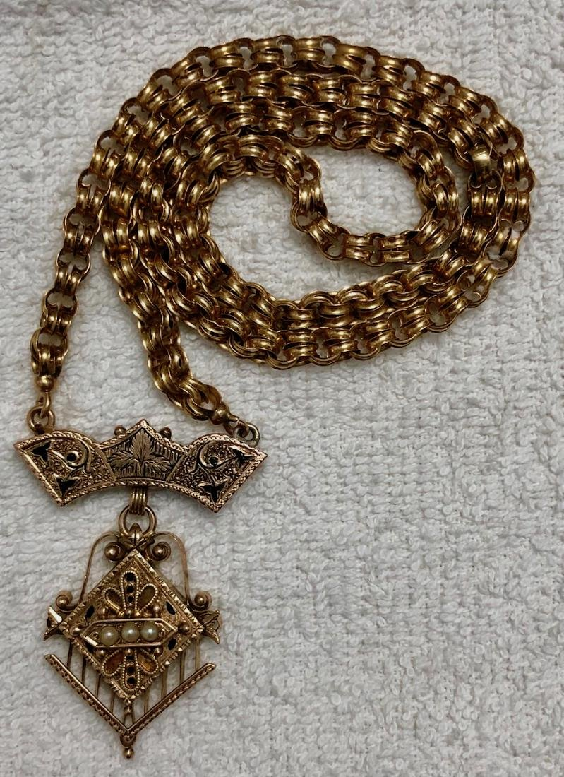 Victorian Gold Link Necklace W/ Pendant