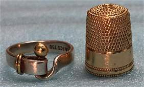 Tiffany  Co 18k Gold Sterling Ring  14k Thimble