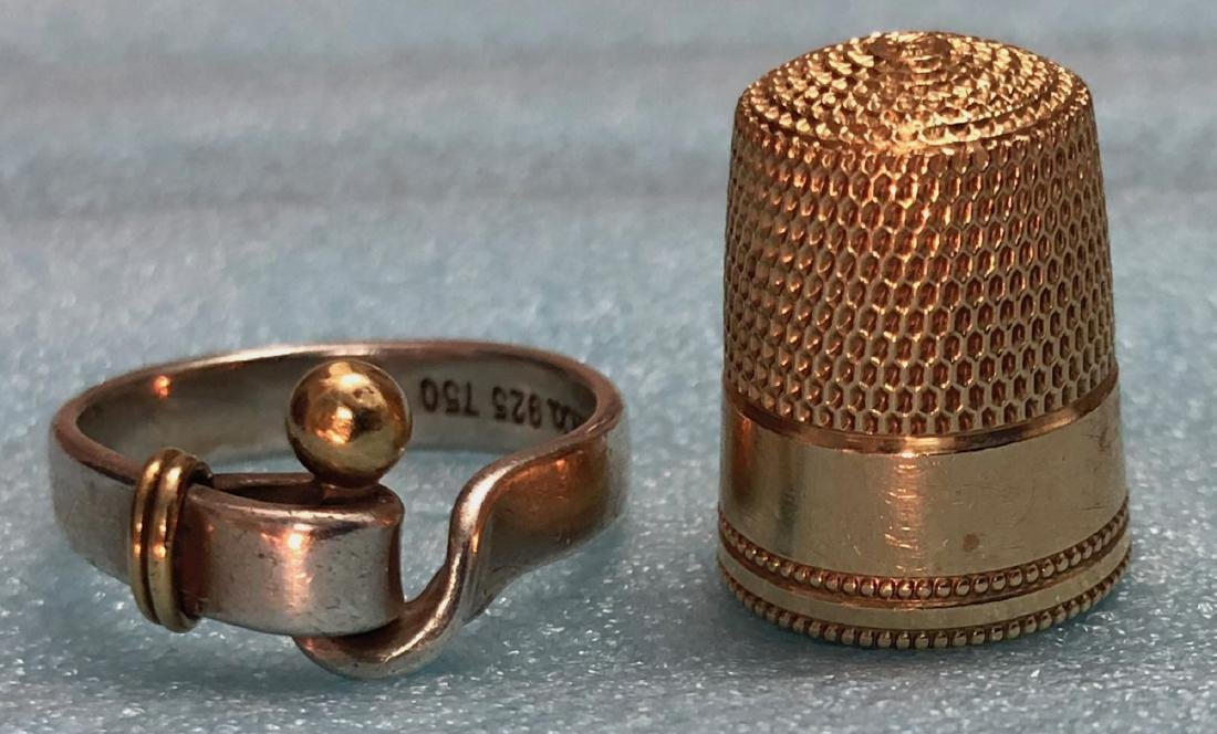 Tiffany & Co 18k Gold Sterling Ring & 14k Thimble