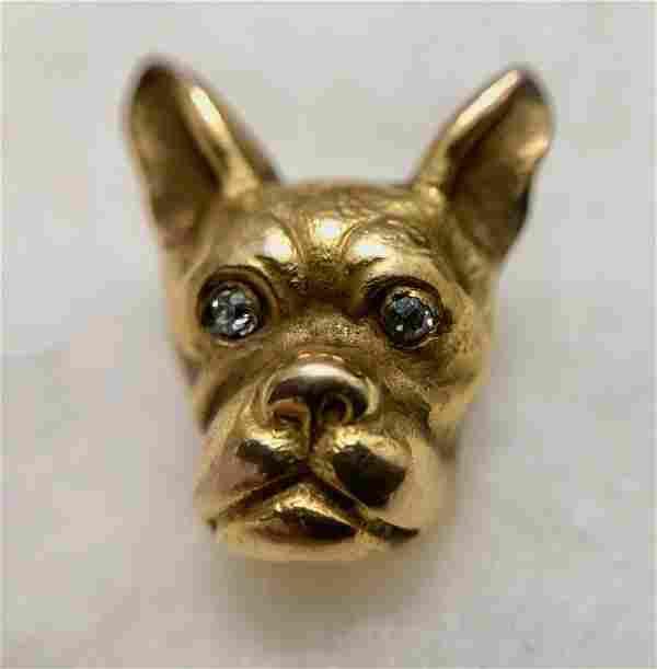 14k Yellow Gold Bulldog w/ Diamond Eyes Lapel Pin